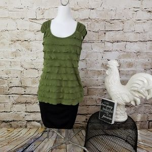 ABG Hunter Green Tiered Tank Top Cap Sleeve Career